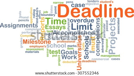 Background concept wordcloud illustration of deadline - stock photo