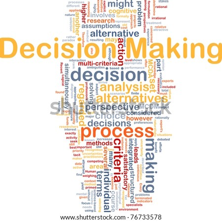 Background concept wordcloud illustration of decision making - stock photo