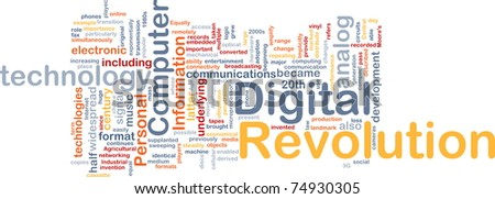 Background concept wordcloud illustration of digital revolution