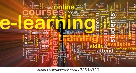 Background concept wordcloud illustration of e-learning glowing light - stock photo