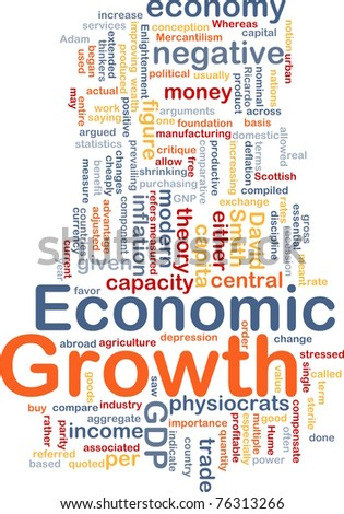 Background concept wordcloud illustration of economic growth - stock photo
