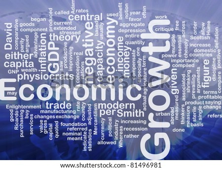 Background concept wordcloud illustration of economic growth international - stock photo