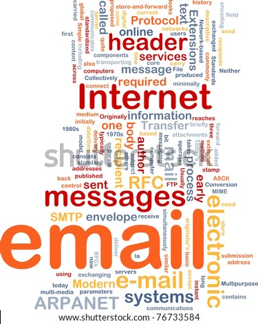 Background concept wordcloud illustration of email