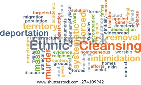Background concept wordcloud illustration of ethnic cleansing - stock photo