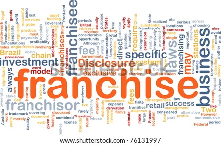 Background concept wordcloud illustration of franchise - stock photo