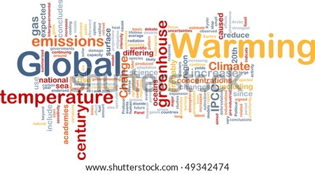 Background concept wordcloud illustration of global warming greenhouse - stock photo