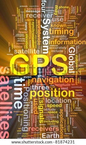 Background concept wordcloud illustration of GPS Global positioning glowing light - stock photo