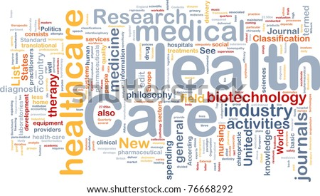 Background concept wordcloud illustration of health care - stock photo