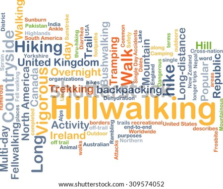 Background concept wordcloud illustration of hillwalking