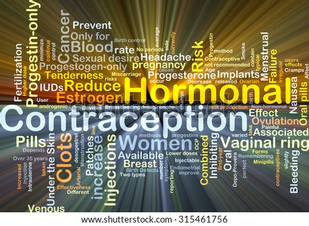 Background concept wordcloud illustration of hormonal contraception glowing light