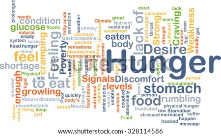 Background concept wordcloud illustration of hunger