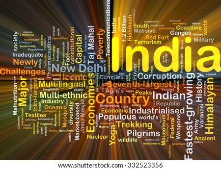 Background concept wordcloud illustration of India glowing light