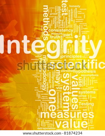 Background concept wordcloud illustration of integrity international - stock photo