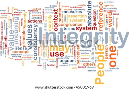 Background concept wordcloud illustration of integrity principles values - stock photo