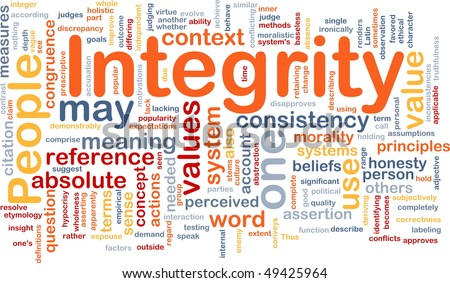 Background concept wordcloud illustration of integrity principles values