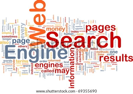 Background concept wordcloud illustration of internet search engine - stock photo