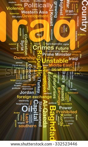 Background concept wordcloud illustration of Iraq glowing light - stock photo