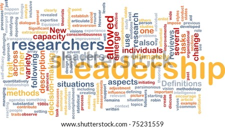 Background concept wordcloud illustration of leadership - stock photo