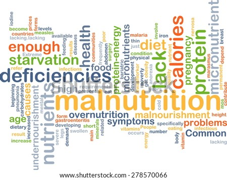 Background concept wordcloud illustration of malnutrition