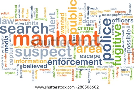 Background concept wordcloud illustration of manhunt