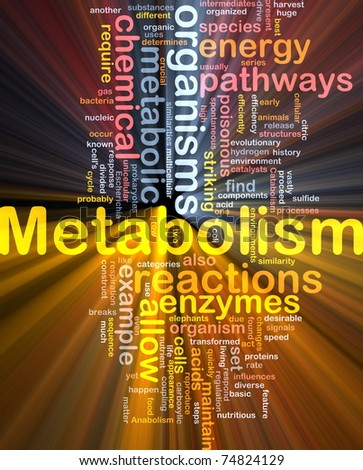 Background concept wordcloud illustration of Metabolism metabolic  glowing light - stock photo