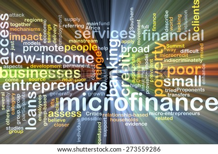Background concept wordcloud illustration of microfinance glowing light - stock photo