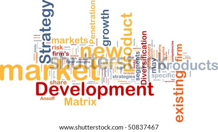 Background concept wordcloud illustration of new market development