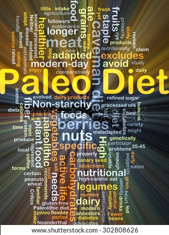 Background concept wordcloud illustration of Paleo diet glowing light - stock photo