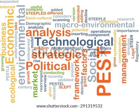 Background concept wordcloud illustration of political economic social technological PEST - stock photo