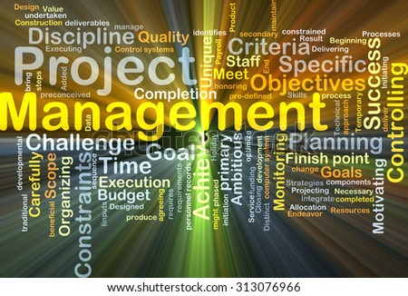 Background concept wordcloud illustration of project management glowing light - stock photo