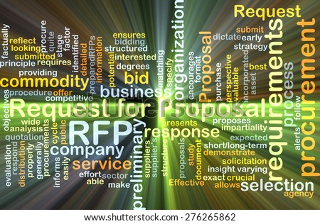 Background concept wordcloud illustration of request for proposal RFP glowing light - stock photo