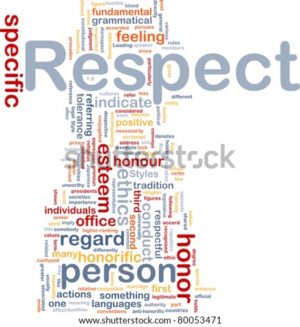 Background concept wordcloud illustration of respect - stock photo