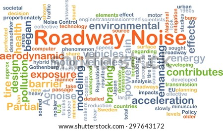 Background concept wordcloud illustration of roadway noise