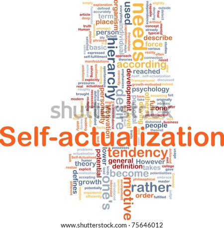 Background concept wordcloud illustration of self-actualization - stock photo