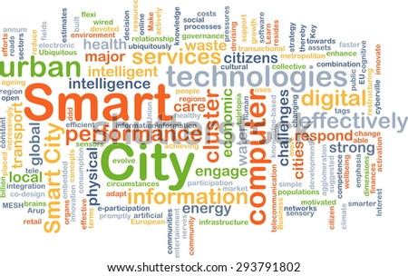 Background concept wordcloud illustration of smart city - stock photo