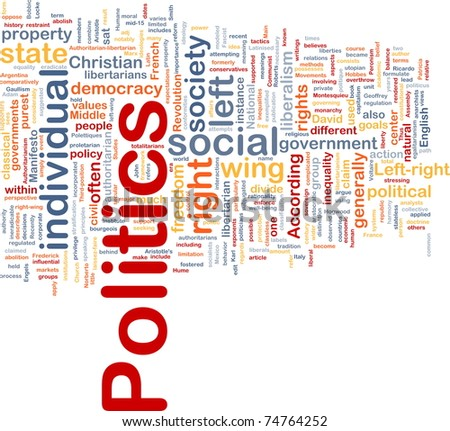 Background concept wordcloud illustration of social individual politics - stock photo