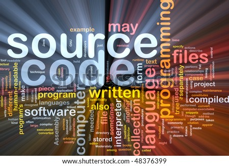 Background concept wordcloud illustration of source code programming glowing light