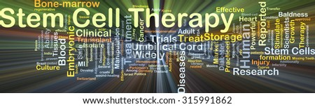 Background concept wordcloud illustration of stem cell therapy glowing light - stock photo