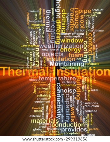 Background concept wordcloud illustration of thermal insulation glowing light