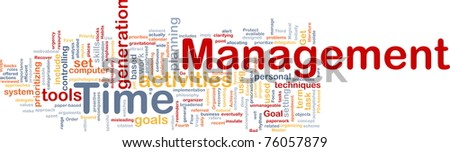 Background concept wordcloud illustration of time management