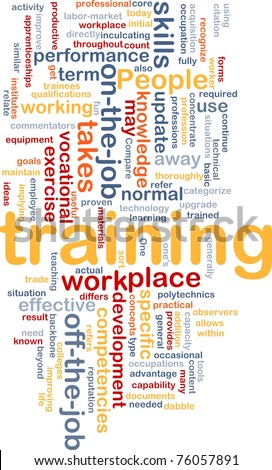 Background concept wordcloud illustration of training - stock photo