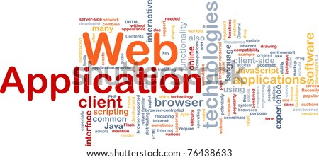 Background concept wordcloud illustration of web application - stock photo