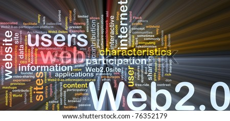 Background concept wordcloud illustration of web 2.0 glowing light - stock photo