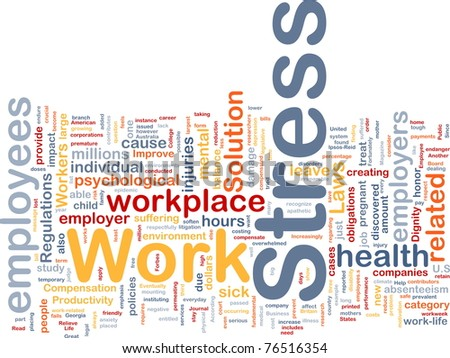Background concept wordcloud illustration of work stress - stock photo