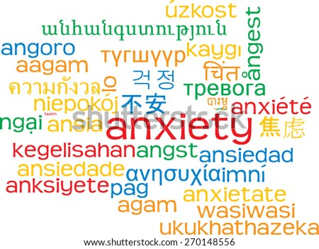 Background concept wordcloud multilanguage international many language illustration of anxiety - stock photo