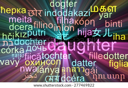 Background concept wordcloud multilanguage international many language illustration of daughter glowing light