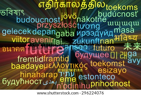 Background concept wordcloud multilanguage international many language illustration of future glowing light