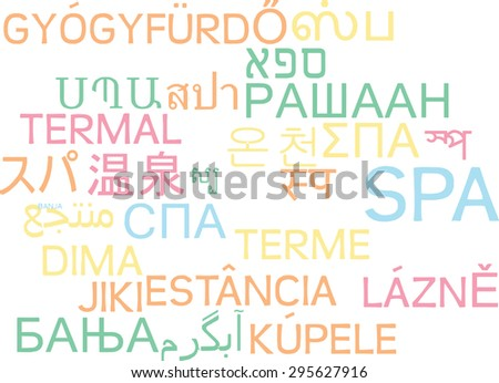 Background concept wordcloud multilanguage international many language illustration of spa