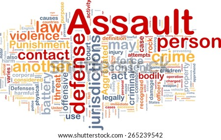 Background concept wordcloud of assault crime - stock photo