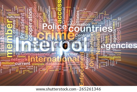 Background concept wordcloud of Interpol  organization glowing light - stock photo